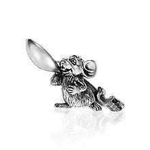 Амулет серебряный Мышь с ложкой загребушкой ПС-03 Б