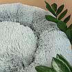 Лежанка для кошки собаки лежак круглый пушистый лежанка теплая меховая серая, фото 5