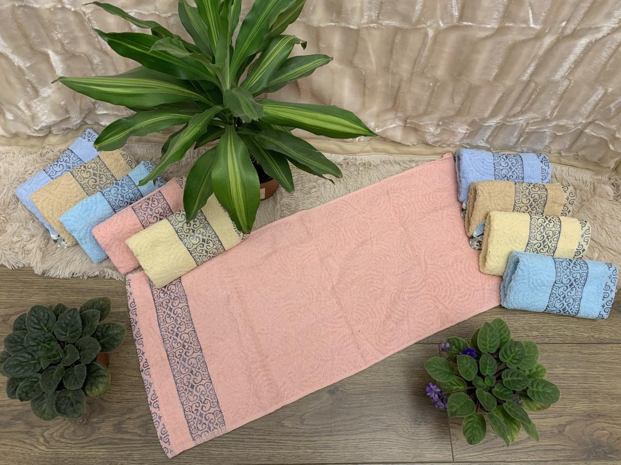 Хорошее махровое полотенце 35*75 полоса/орнамент