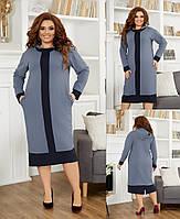 Сукня жіноча стильний, тканина креп-дайвінг,ззаду розріз, з боків потаємні кишені(48-58), фото 1