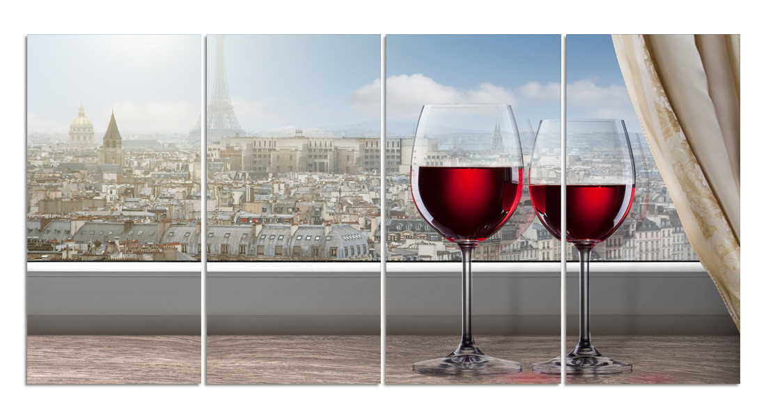 "Картина на стекле ""Окно в Париж"" модульная"