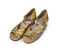 Туфли детские для бальных танцев с блестящим напылением Levant 7000/4 золотые