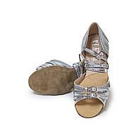 Туфли детские для бальных танцев с блестящим напылением Levant 7000/5 серебряные