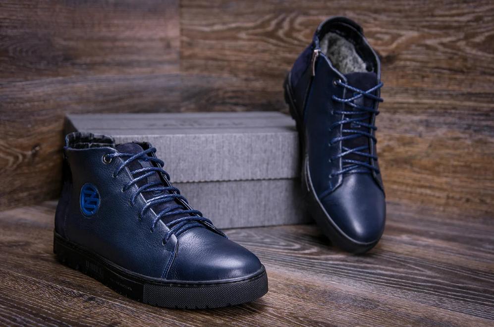 Стильные кожаные мужские зимние ботинкт ZG Blue