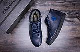 Стильные кожаные мужские зимние ботинкт ZG Blue, фото 4