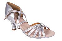 Босоножки для бальных танцев каблук 5,5 см A 2100-1 серебряные