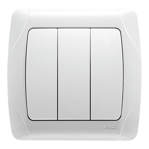 Выкл. трехклавишный внутренний VIKO Carmen Белый