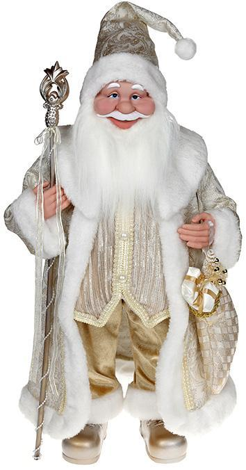 """Декоративная фигура """"Санта с посохом"""" 60см, шампань"""