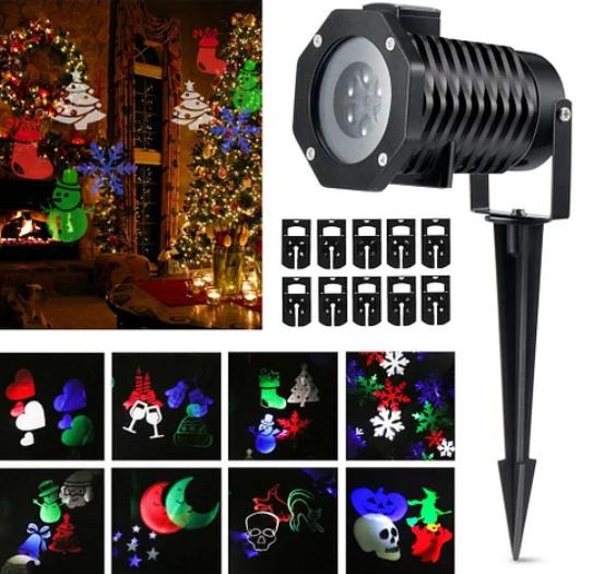 Проектор Christmas Laser Projector 16 картриджей № 16F