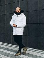 Куртка зимняя парка длинная качественная теплая белая мужская без логотипа