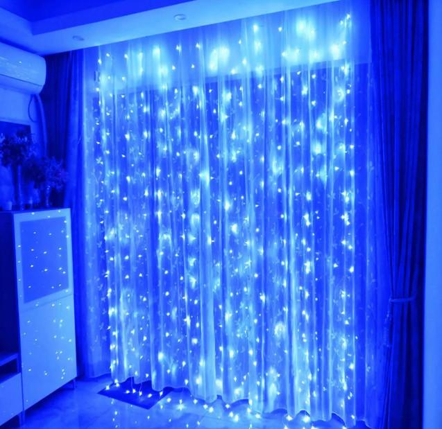 Электрическая гирлянда Водопад 144 LED 1,5 м х 1.5 м, синяя