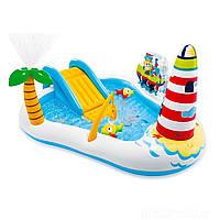 Дитячий надувний ігровий центр басейн Intex 57162 «Весела Рибалка» з гіркою, фото 1