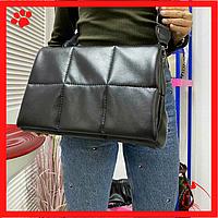 Модная городская женская сумка среднего размера через плечо черная из искусственной кожи кожзама экокожи 2020