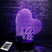 (Ночник)3D светильник с пультом и аккумулятором 3D Lamp Сердце Love (LP-2816)