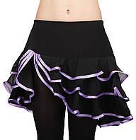 Юбка для бальных танцев Dance&Sport N 089 черная с фиолетовым масло