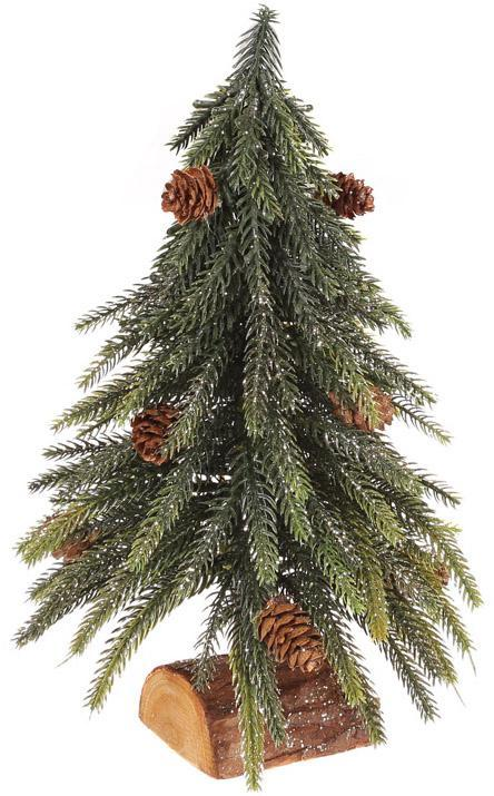"""Декоративная елка """"Золотистый блеск"""" 27см, на деревянной подставке"""