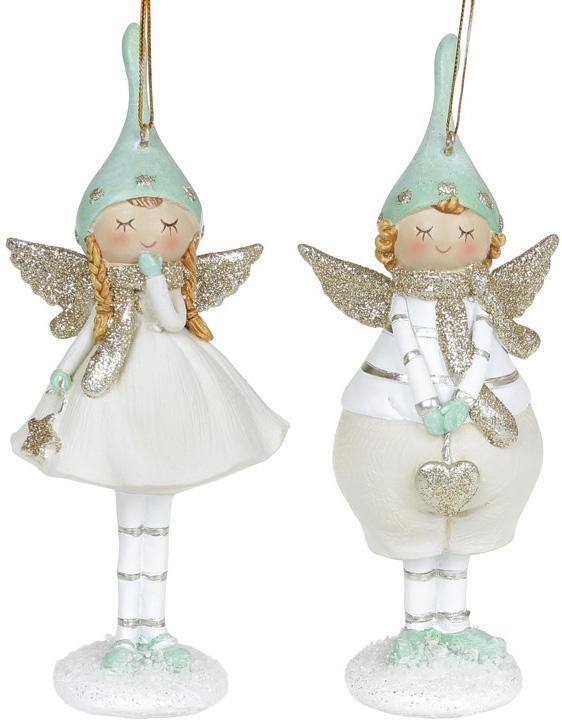 """Набор 2 статуэтки-подвески """"Ангел в Мечтах"""" 6.5х4х16.5см, мятный"""