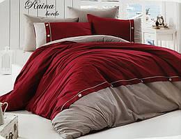 Комплект постельного белья First Choice De Luxe ранфорс Бордовый