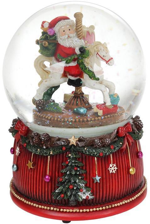 """Декоративный водяной шар """"Санта на карусели"""" 20см, музыкальный"""