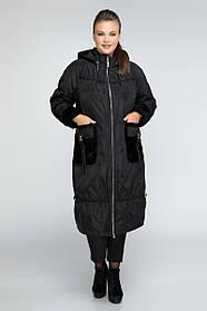 Демисезонное плащ-пальтоО-образного силуэта на утеплителе Большой размер от  48 до 72