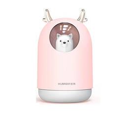 Ультразвуковой увлажнитель воздуха со светодиодной лампой 300 мл. Розовый