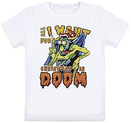"Детская футболка ""All I Want For Christmas Is Doom"" (белая)"