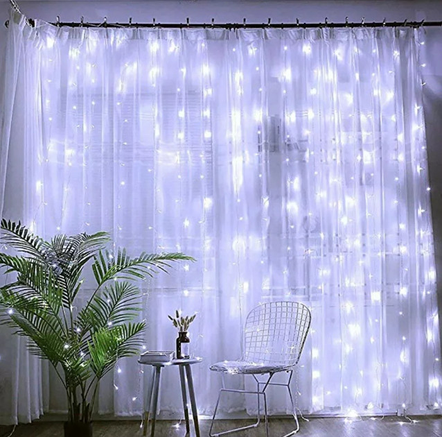 Электрическая гирлянда Водопад 144 LED 1,5 м х 1,5 м, белая