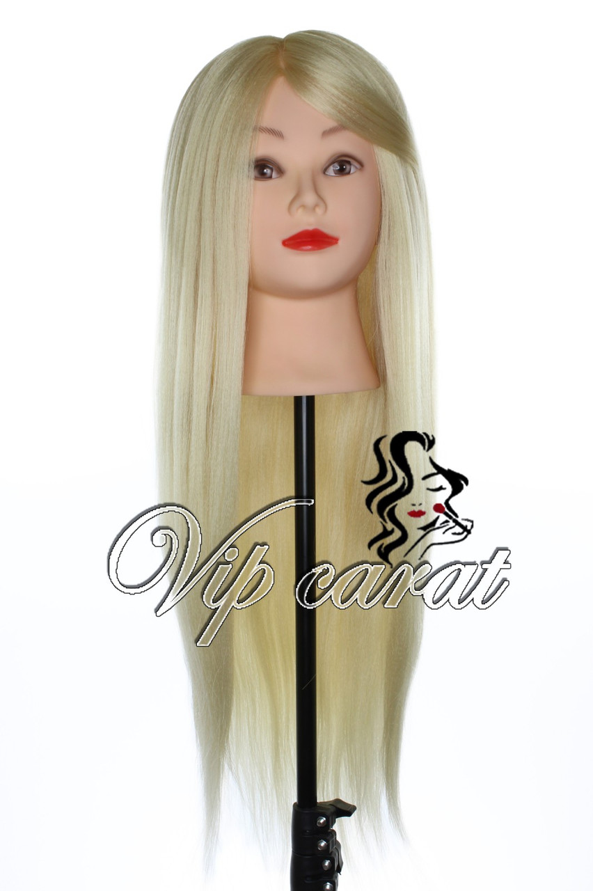 Голова манекен для причесок с натуральными волосами 30% болванка для парикмахера учебная, блондинка