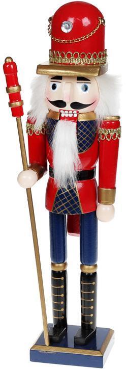 Статуэтка декоративная «Щелкунчик» 38см, деревянная, красный с синим