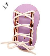 Заготовка для Бизиборда Лиловый Ботинок + Шнурок Деревянная Шнуровка Кеды Черевик шнурівка для бізіборда