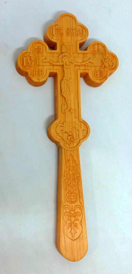 Православний різьблений Хрест для священика 28.5х12см з вільхи