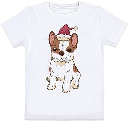"""Детская футболка """"Bulldog Santa Hat"""" (белая)"""