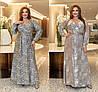 Р 50-60 Нарядное длинное платье на запах Батал 22887