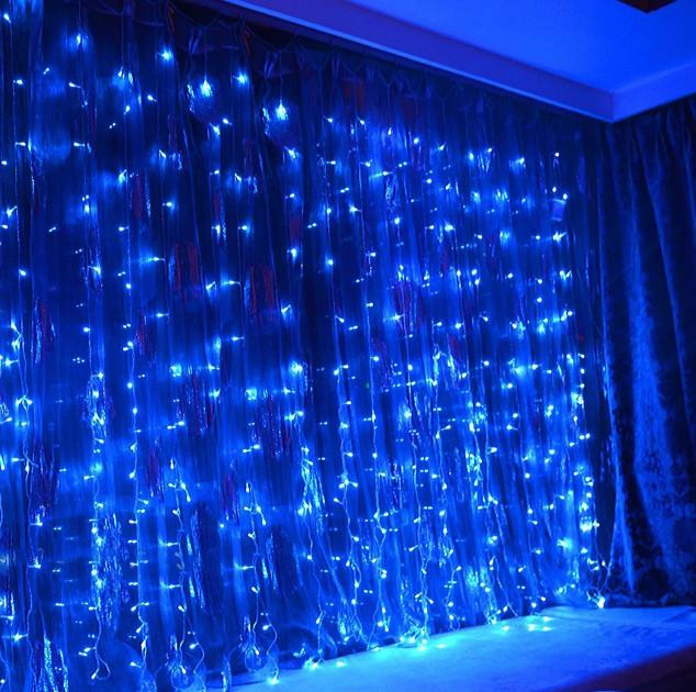 Электрическая гирлянда Водопад 240 LED 2 м х 2 м, синяя