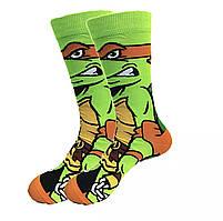 Прикольні високі чоловічі шкарпетки з принтом Мікеланджело, фото 2