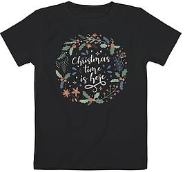 """Детская футболка """"Christmas Time Is Here"""" (чёрная)"""