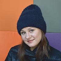 Темно-синяя мягкая пушистая ангоровая теплая женская шапка-бини с отворотом Fanta с флисовой шапкой внутри