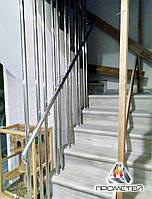 Перила з круглими поручнями і наскрізними вертикальними стійками, фото 1