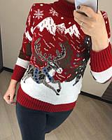 Зимний шерстяной женский свитер красный с оленем