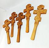 Православный резной Крест в руку малый 22х8см из ольхи, фото 2