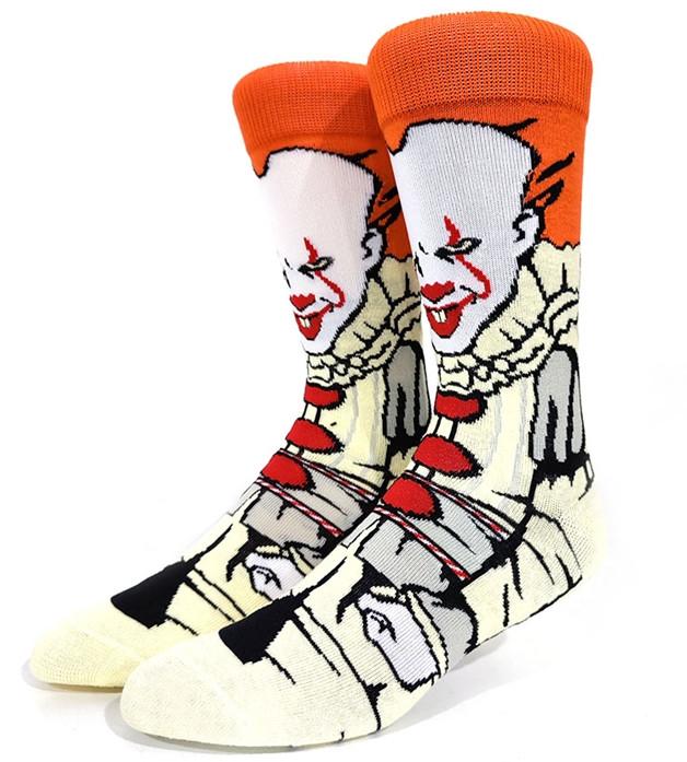 Прикольні високі чоловічі шкарпетки з принтом клоуна Пеннівайза