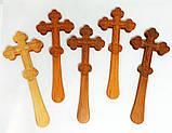 Православний Хрест різьблений малий 21.5х8.5см з вільхи, фото 2