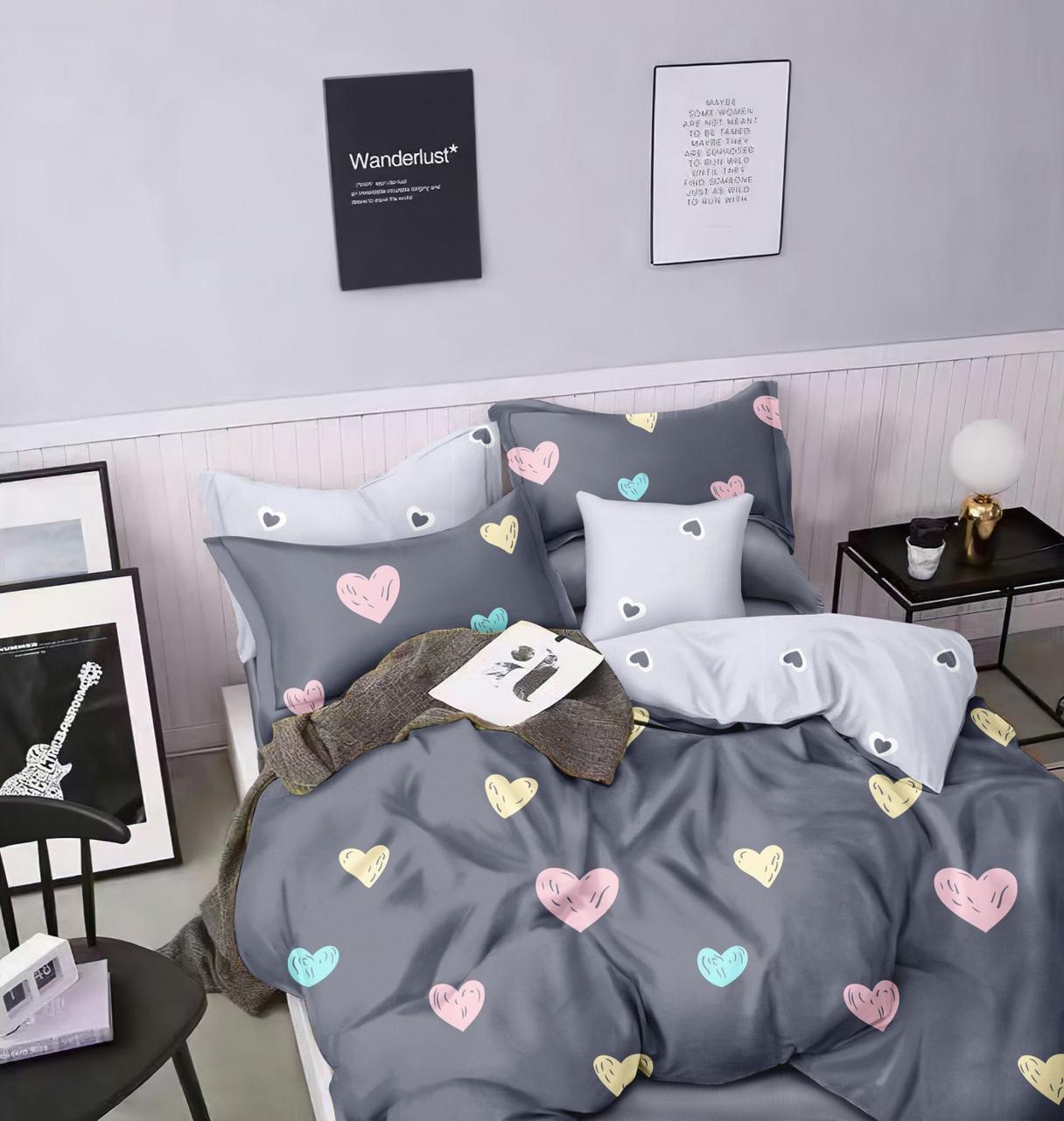 Двуспальный комплект постельного белья евро 200*220 сатин (15686) TM КРИСПОЛ Украина