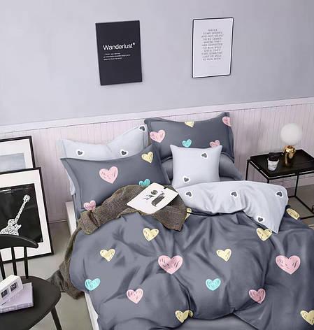 Двуспальный комплект постельного белья евро 200*220 сатин (15686) TM КРИСПОЛ Украина, фото 2