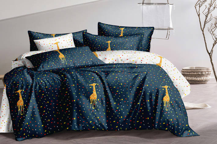 Двуспальный комплект постельного белья евро 200*220 сатин (15687) TM КРИСПОЛ Украина, фото 2