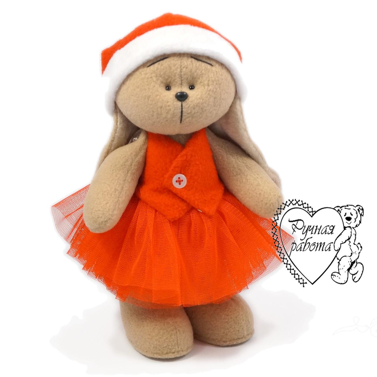 Игрушка заяц Зайка  новогодняя в пачке и колпаке ручной работы