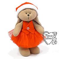 Іграшка заєць Зайчик новорічна в пачці і ковпаку ручної роботи