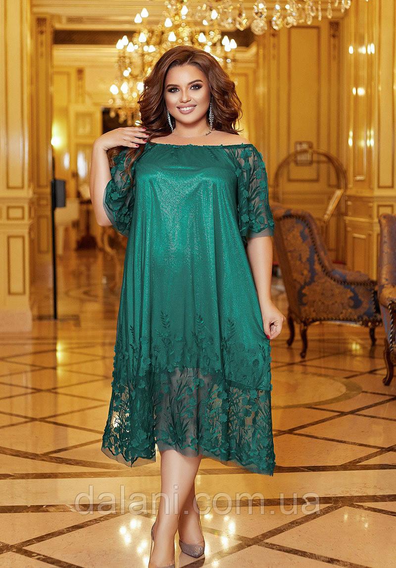 Вечернее зеленое платье миди свободного кроя батал