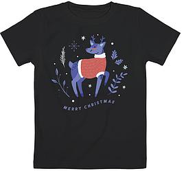 """Детская футболка """"Merry Christmas Reindeer"""" (чёрная)"""