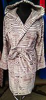 Красивый женский махровый халат с капюшоном, фото 1